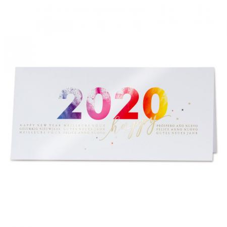 "Carte ""Happy 2020"" en couleur"